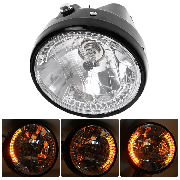 7Inch H4 Round Motorcycle Headlight Turn Signal Light Flasher 35W 12V Amber LED Head Lamp For Motorbike Moto Accessories
