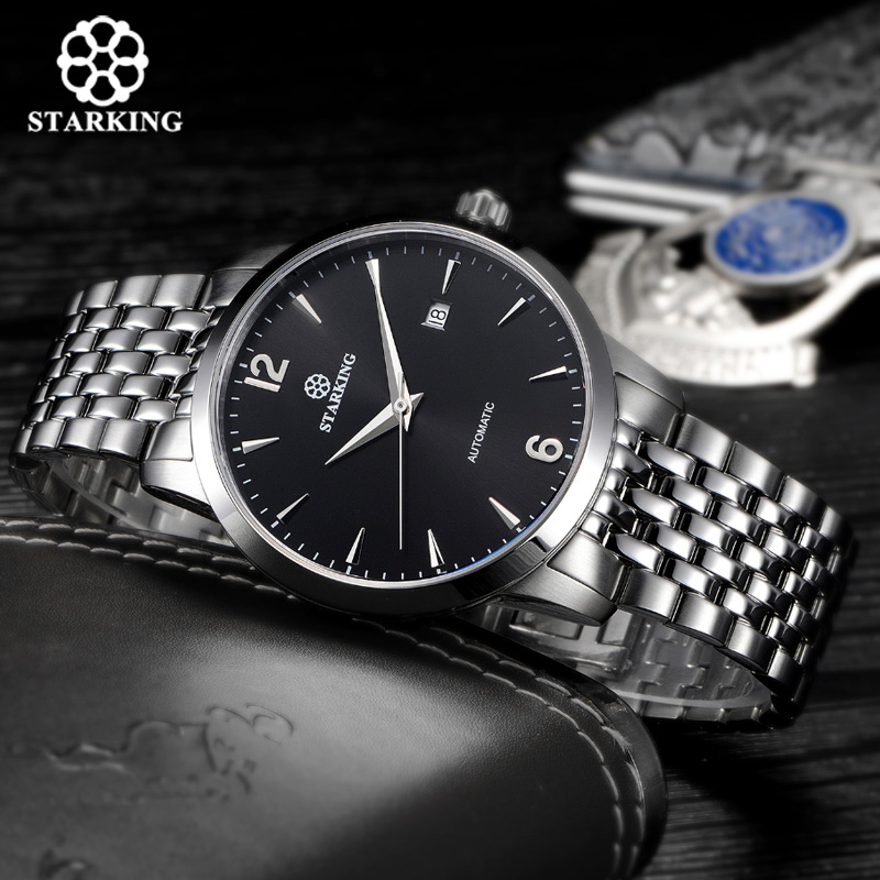STARKING luxury brand fully-automatic wristwatch waterproof stainless steel men watches gold plated AM0194 starking men s luxury automatic self wind stainless steel wrist watch rose gold elegant men watches with sapphire crystal clocks