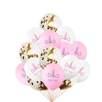 15pcs Pink Unicorn Balloon Birthday Unicorn Party Decoration Kids Latex Ballons Gold Confetti Baloons Baby Shower Party Supplies 1