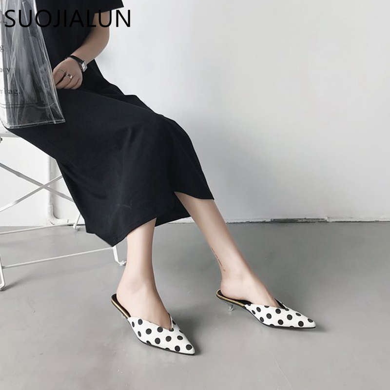 SUOJIALUN Summer Elegant Mules Shoes Slides Woman Polka Dot Zapatos Mujer Pointed Toe Sandals Shallow Slip On Slippers creativesugar elegant pointed toe woman