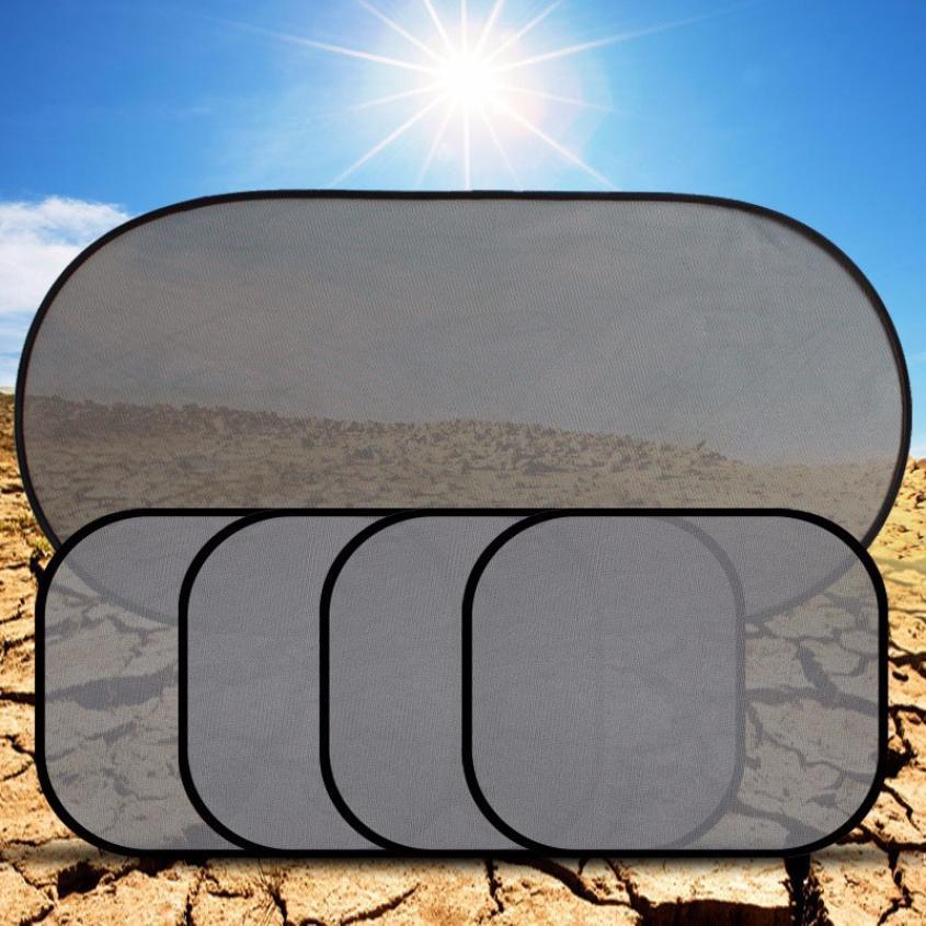 5 Pcs/Set Car Window Suction Cup Sun Visor Shade Curtain Mesh Sunshade Covers Visors Silver Sunshield Sunscreen H0424