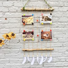 Macrame Wall Hanging Picture Frames Set Collage Photos Display With Wooden Stick And Rope Pictures Organizer With 7pcs Feathers