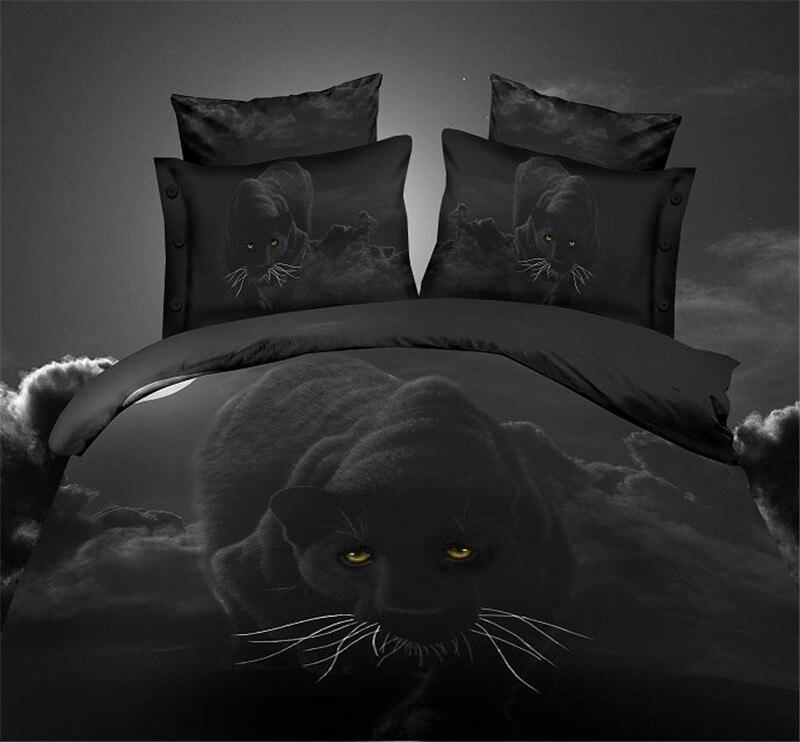 Home Textile Black 3d Bedding Set 4pc Animal Bed Cotton Set Wolf Duvet Cover Set Bed