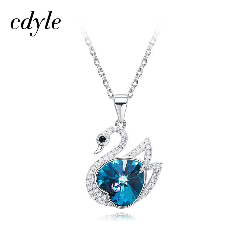 a0820689fec97 US $19.96 49% OFF|Cdyle Crystals from Swarovski Necklace Women Pendants 925  Sterling Silver Jewelry Blue Black Series Swan Shape Bijoux New-in Pendant  ...