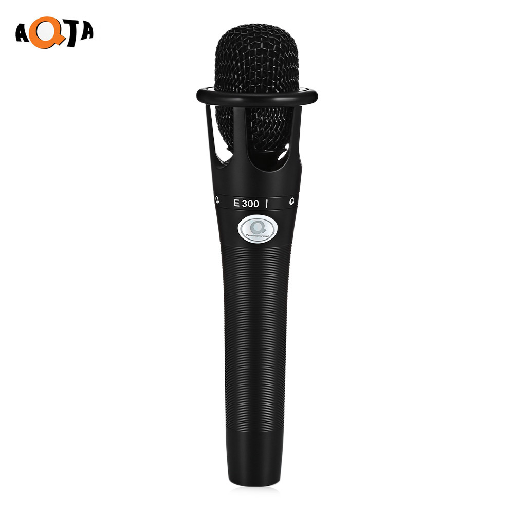 AQTA E-300 Professional Condenser Microphone Recording Desktop Mic with Shock Mount for PC Laptop professional recording sound wired condenser lecture microphone with black mic stand laptop microphone xlr cable recording