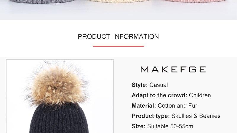 Nueva moda niños sombreros del bebé de invierno raccoon fur pom-pom ...