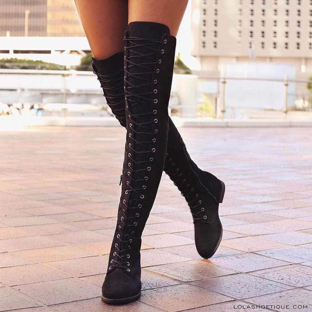 Seksi Dantel Up Diz Çizmeler Üzerinde Kadın Botları Flats Ayakkabı Kadın Kare Topuk Kauçuk Akın Çizmeler Botas Kış Uyluk Yüksek çizmeler 34-43