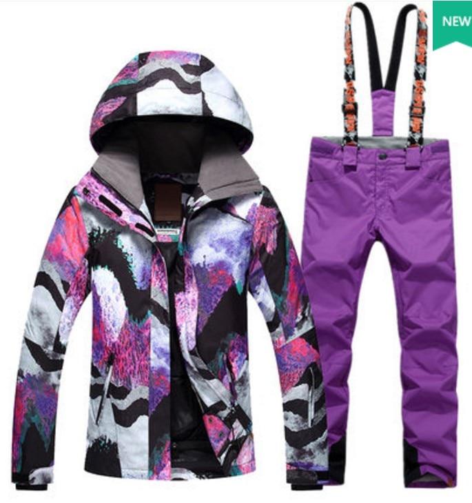 Female purple waterproof 10K ski suit women white purple ski jacket and purple suspender ski trousers winter outdoor sports suit цена