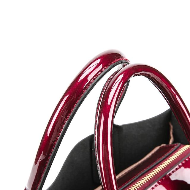 Brand 3 Sets Women Handbags High Quality Patent Leather Female Messenger Bag Luxury Tote+Ladies Shoulder Crossbody Bag+Clutch 5