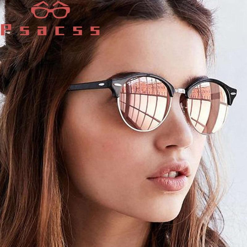 Psacss 2019 Vintage Polarized Sunglasses Women Men Retro Rivet Round Brand Designer Mirror Driving Sun Glasses Female Male UV400