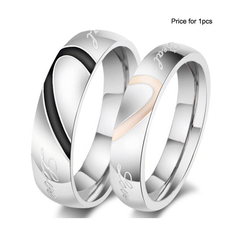 fashion love heart couple ring for women men wedding engagement rings wholesale stainless steel jewelry