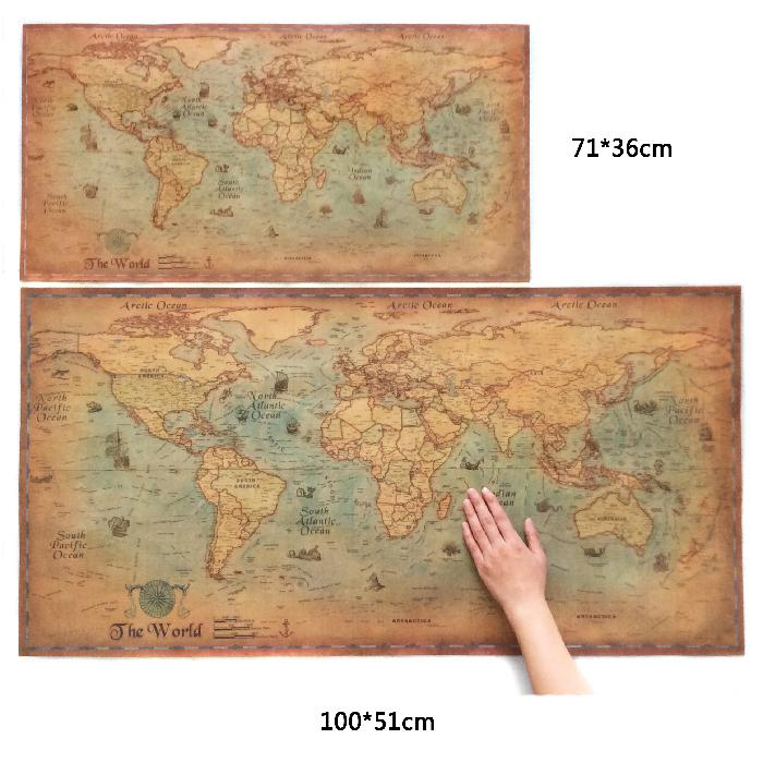Large Retro World Map Kraft Paper Paint Vintage Wall Sticker - Large world map antique