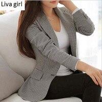 Women Plaid Blazers and Jackets Suit Ladies long sleeve small suit female autumn winter lattice jacket Slim Wear to Work Coat