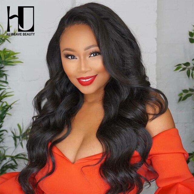 HJ WEAVE BEAUTY 4x4 Peluca de cierre de encaje pelo virgen brasileño onda del cuerpo encaje frente pelucas de cabello humano para las mujeres negras