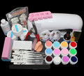BTT-82 Full Pro 9W White Cure Lamp Dryer & 12 Color UV Gel Nail Art Tips Tool Kits Sets
