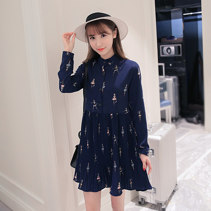 Han edition maternity clothes in the spring of the new collar printed single-breasted long-sleeved pressure plait chiffon pregna