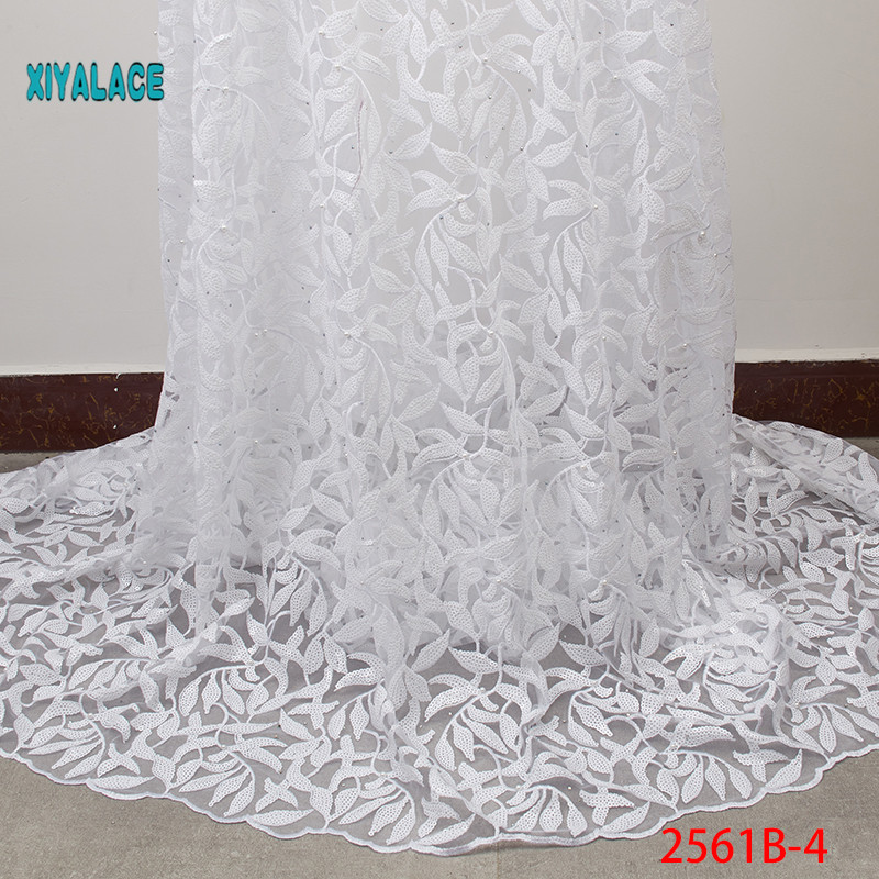 African Lace Fabric Luxury High Quality French Organza Lace Fabric 2019 New Arrival Sequins Lace Fabrics For Wedding YA2561B-4