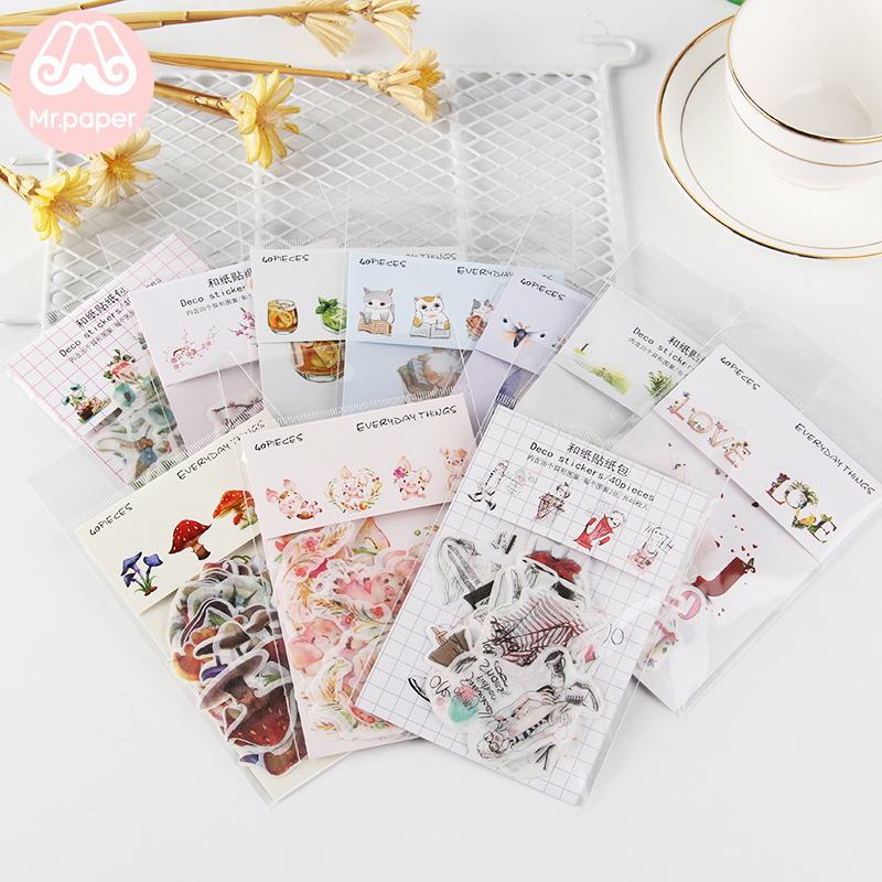 Mr.paper 10 Designs 40Pcs/lot Cute Cartoon Deco Diary Stickers Scrapbooking Planner Bullet Journal Deco Stationery Stickers