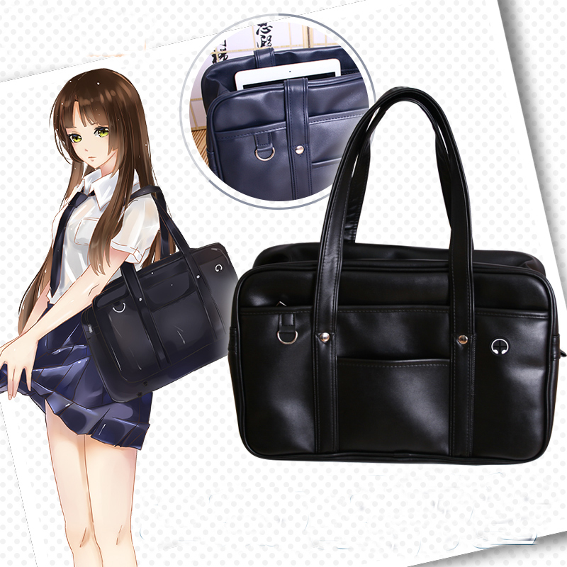 Japanese Student Bags College Student Girl School Bag JK Commuter Pu Leather Bag Bookbag Travel Messenger Bag Handbag