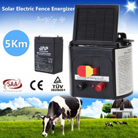 5km Solar Power Electric Garden Farm Fence Fencing Energizer Charger Controller ABS Waterproof AU Plug Monocrystalline Silicon