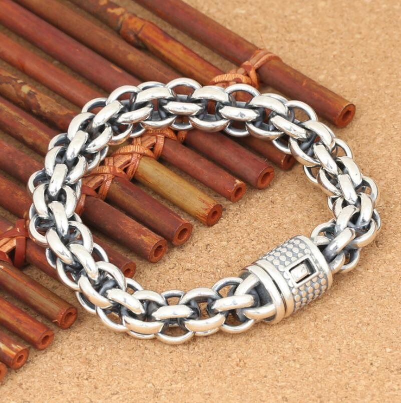 S925 Sterling Silver Jewelry Vintage Men's Hollow Out Cross Link Chain Bracelet (FGL) ab gymnic electronic body muscle arm leg waist abdominal massage exercise toning belt slim fit yf2017