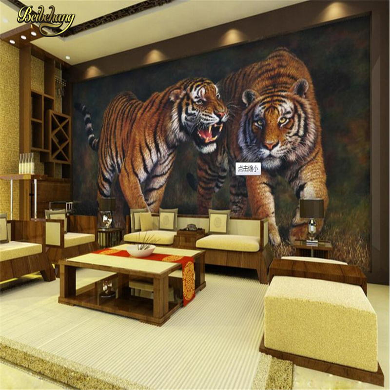 Beibehang Custom 3D Photo Wall Papers Home Decor Papel De Parede 3D Tiger Papel Mural Wallpaper For Living Room Home Decoration