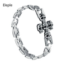Eleple Stainless Steel Retro Punk Silver Color Cross Skull Chain Bracelets for Men Boutique Fashion Gifts Jewelry S-B80