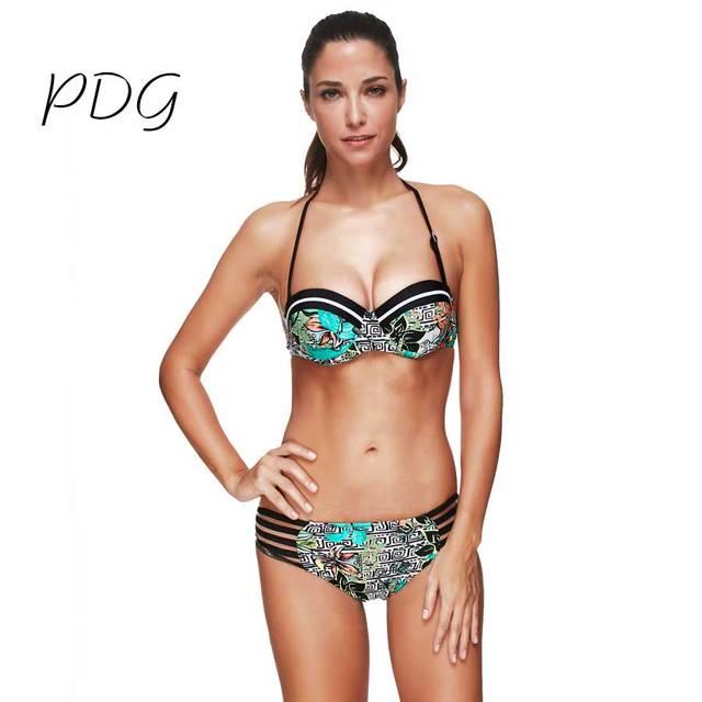 0101a0c5076 Female Sexy Bikinis Halter Push Up Green with Black strip Swimwear Bandage  Bottom bathing suit Beachwear Floral New Arrival 2017