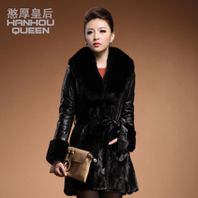 Hot NEW Ladies' Mink coat,Noble Elegant women's mink fur overcoat,Plus sizes Fox fur collar mink jacket outerwear FQ930
