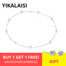 YIKALAISI 925 Sterling Silver Chain Natural Pearl Chokers Necklaces Jewelry For Women 7-8mm Pearl Necklaces Accessories