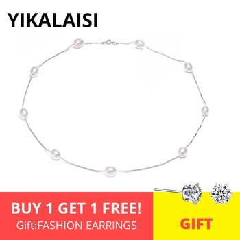 YIKALAISI 925 スターリングシルバーチェーン天然真珠チョーカーネックレスジュエリー女性のための 7-8 ミリメートルパールリボンチョーカーネックレス