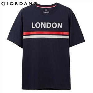 Image 2 - Giordano Мужская футболка, мужские футболки с округлым вырезом, с контрастным принтом, с буквенным принтом, мужские модные тренды с коротким рукавом, мужская одежда