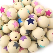 50 adet gıda sınıfı silikon boncuk yıldız yuvarlak boncuk bebek çiğnemek 15mm bebek aksesuar bulma bej EA185 1