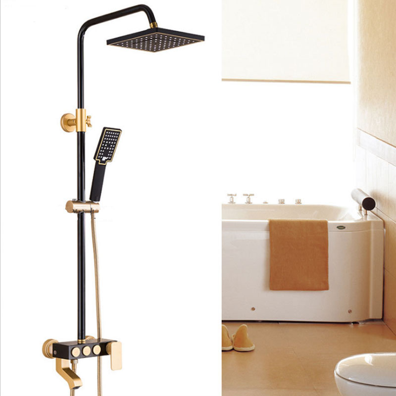Gold plated Shower Faucets Luxury Bath Shower Sets Bathroom Wall Mounted Hand Held Antique Shower Head Kit Shower Faucet Set
