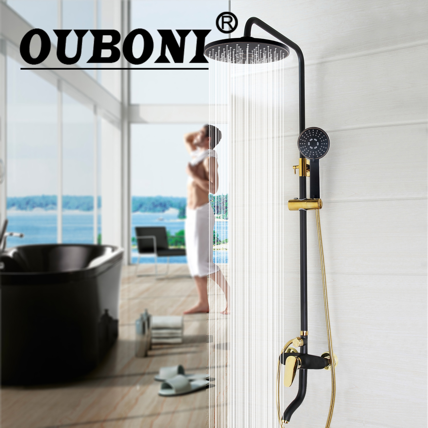 OUBONI Luxury Bathroom Rain Mixer Shower Combo Set Wall Mounted Rainfall Shower Head System Black Gold-plated Shower Faucet