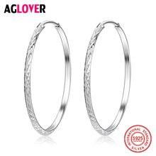 Women 100% 925 Sterling Silver Hoop Earring 36.6mm Round Circle Loop Gifts Simple Silver Hoop Earrings Fashion Charm Jewelry