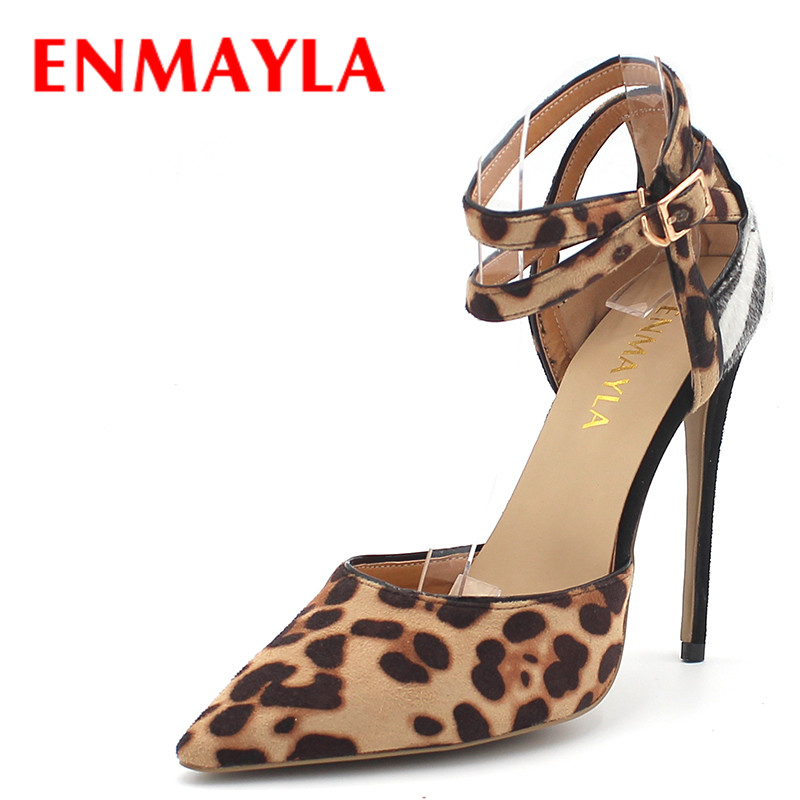 ENMAYLA Women Super High Heels Shoes Woman Pointed Toe Mixed Color Sexy Leopard Strappy Pumps Close Toe Sandals Party Shoes sexy pointed toe new fashion transparent pvc fringes shoes closed toe high heels women pumps mixed color weding party sandals