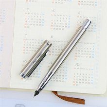 Silver Metal Hero Fountain Pen 0.38mm Nib Full Metal Body Pens Business Gift Writing Calligraphy Office Supplies