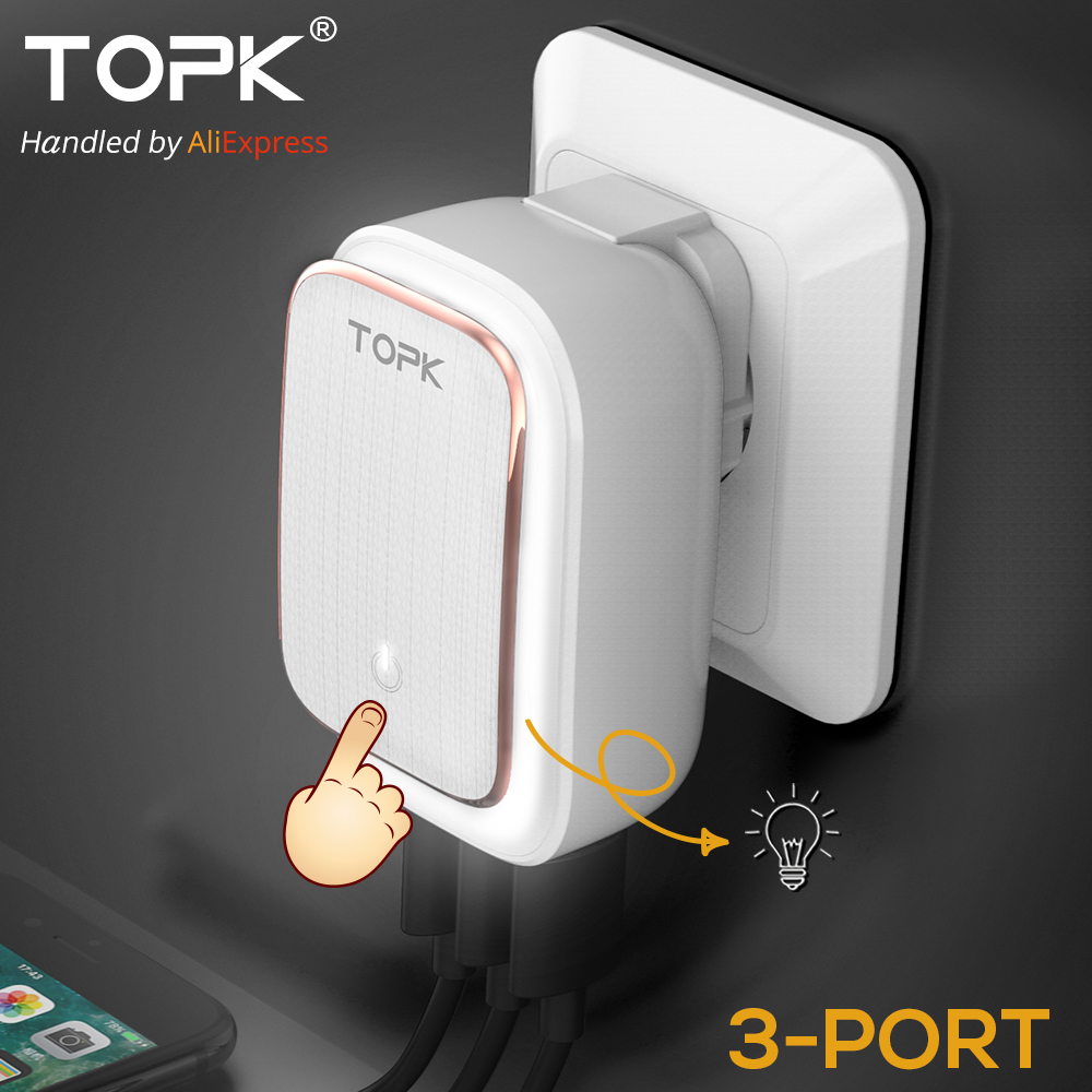 TOPK 5V 3.4A(Max) 3-Port LED Lamp USB Charger Adapter 2-IN-1
