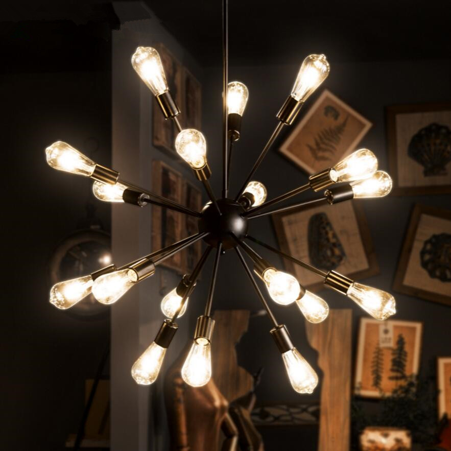 Vintage chandelier LED lamp iron space man-made satellite light edison bulb bar coffee shop indoor ceiling decoretion lighting