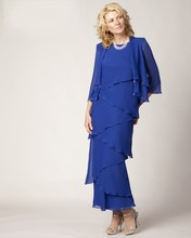 Tiered Layered Elegant Blue Plus Size Long Mother Of The Bride Dress With Jacket 2016 Chiffon Formal Evening