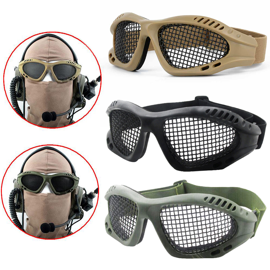 Outdoor Tactical Paintball Goggles Steel Wire Mesh Eye Protective Comfortable  Airsoft Glasses Eye Game Protector 3 Colors