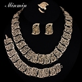 Minmin Gold Plated Leaf Jewelry Sets Necklace Stud Earrings Bracelets Ring for Women Fashion Accessory 4TL005