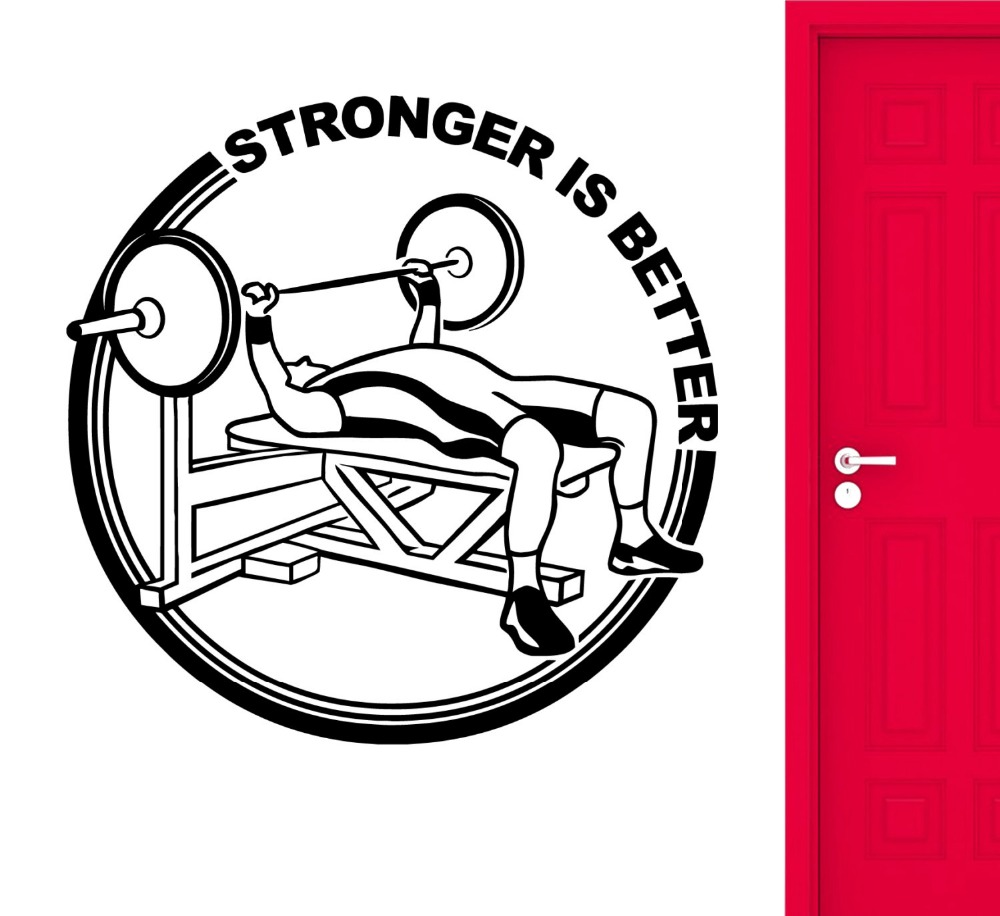 Gym Wall Stickers Fitness Muscled Bodybuilding Stronger Is Better Vinyl Wall Decals Office Home Decor Vinilos Paredes Mural A51