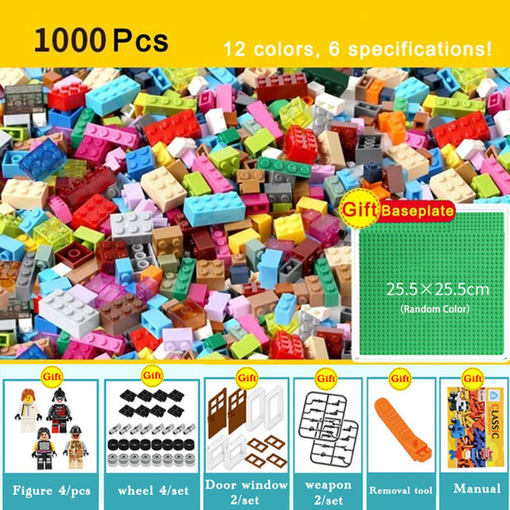 1000pcs Bricks Designer Creative Classic Brick DIY Building Blocks Educational Toys Bulk For Children Gift Compatible Legoingly1000pcs Bricks Designer Creative Classic Brick DIY Building Blocks Educational Toys Bulk For Children Gift Compatible Legoingly