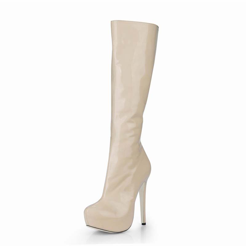 2017 Sexy shoes woman knee high heels women platform winter boots PU leather zapatos botas mujer invierno party valentine shoes new women knee high boots black and white sexy low heels pu leather autumn winter shoes round flat platform boots botas mujer