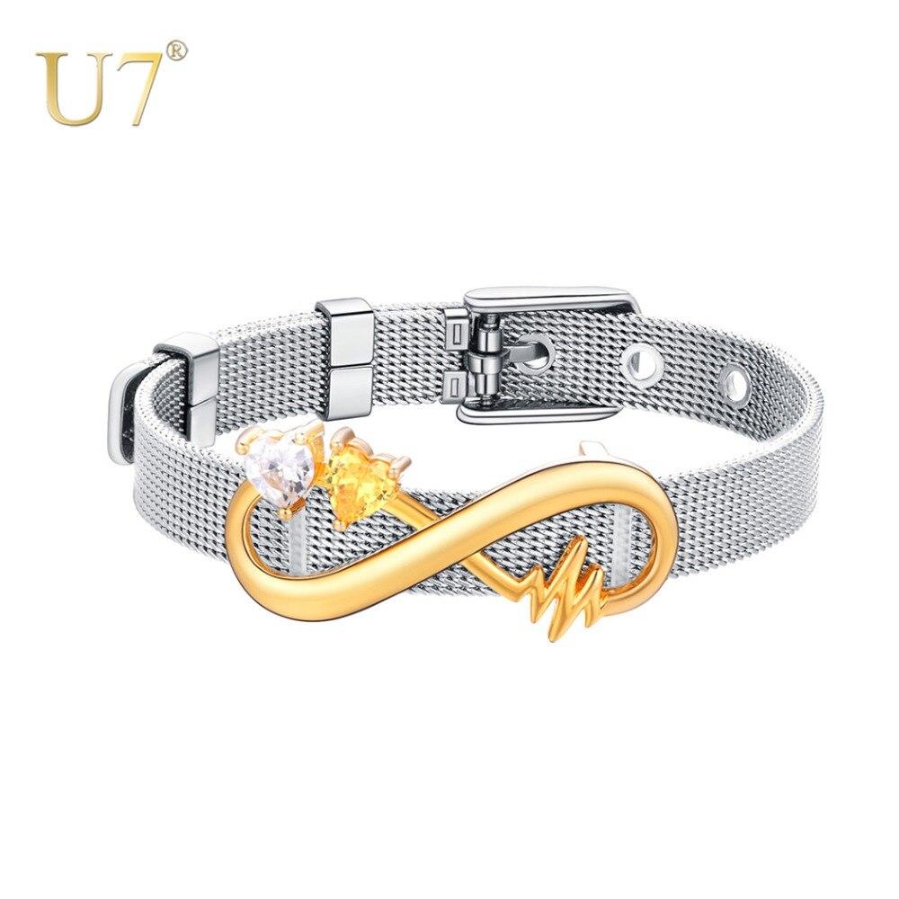 U7 персонализированные Женщины Бесконечность камень браслет на заказ имя кубического циркония Регулируемые браслеты с шармами подарок на д