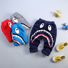 Winter Thick Cotton Kid Pants Boys Girls Cartoon Sports Trousers Warm Tracksuit Baby Pants