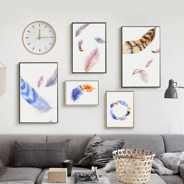 Xdr043 Moderne Nordique Aquarelle Peint Oiseaux Plumes Couleur