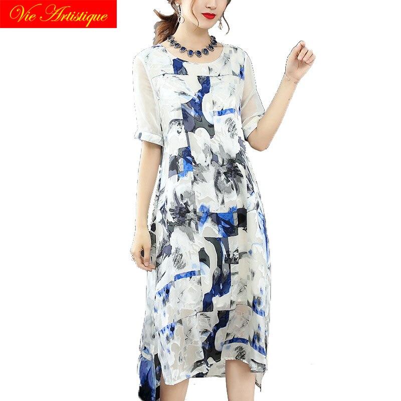 floral silk summer dress robe femme ete 2018 plus size women dresses beach long sexy boho party slim white printed grey flower
